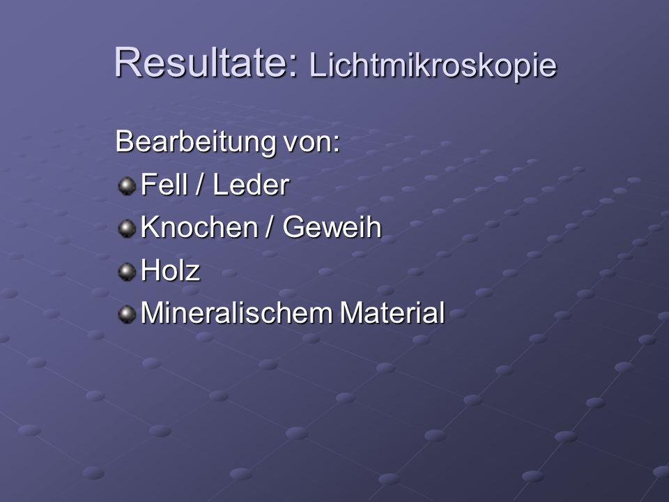 Bearbeitung von: Fell / Leder Knochen / Geweih Holz Mineralischem Material Resultate: Lichtmikroskopie