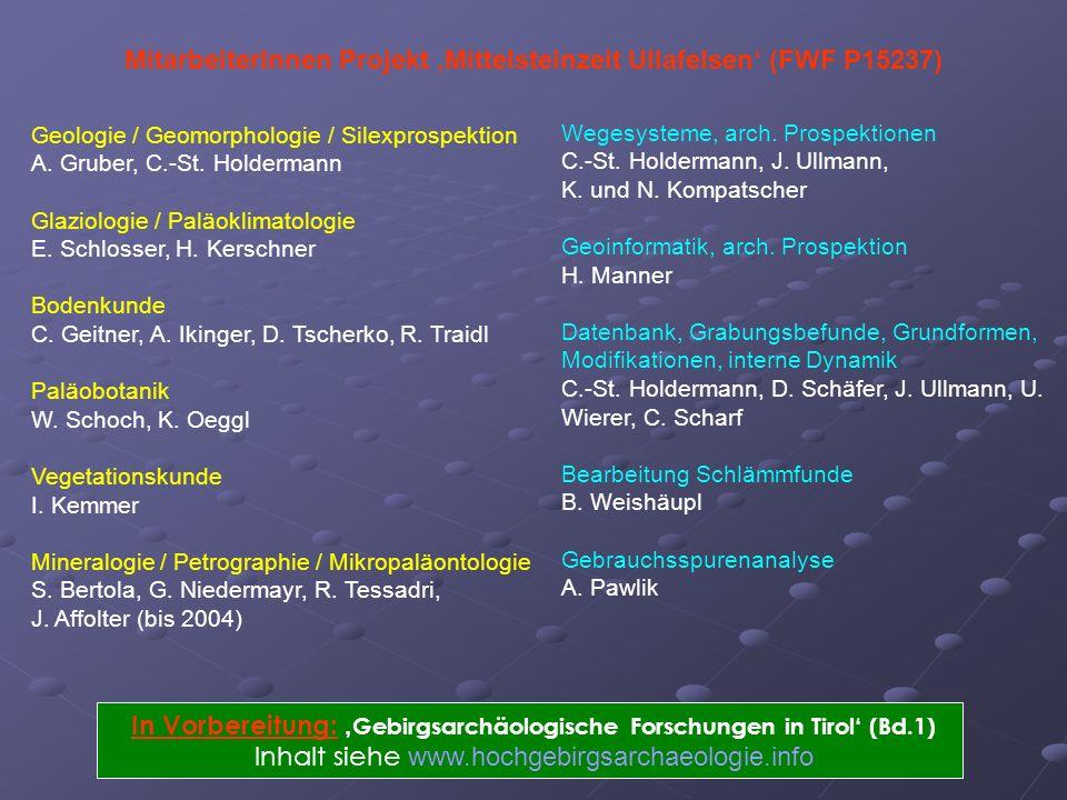 Geologie / Geomorphologie / Silexprospektion A. Gruber, C.-St. Holdermann Glaziologie / Paläoklimatologie E. Schlosser, H. Kerschner Bodenkunde C. Gei