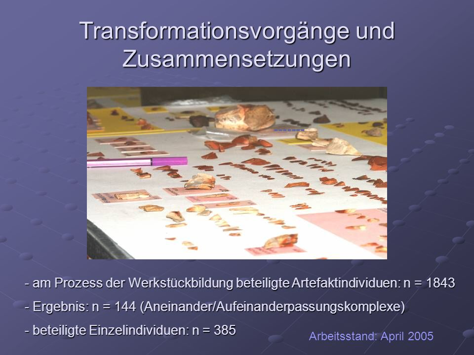 Transformationsvorgänge und Zusammensetzungen ------- - am Prozess der Werkstückbildung beteiligte Artefaktindividuen: n = 1843 - Ergebnis: n = 144 (A