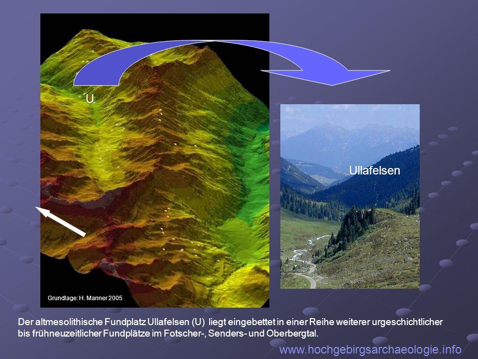 U www.hochgebirgsarchaeologie.info Grundlage: H. Manner 2005 Ullafelsen Der altmesolithische Fundplatz Ullafelsen (U) liegt eingebettet in einer Reihe