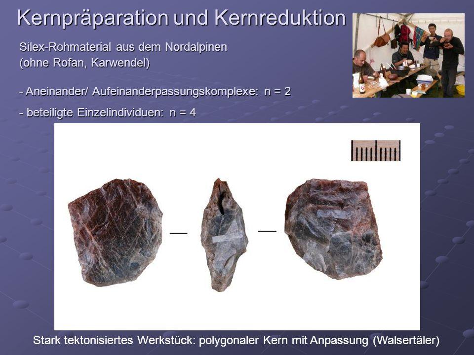 Kernpräparation und Kernreduktion Silex-Rohmaterial aus dem Nordalpinen (ohne Rofan, Karwendel) - Aneinander/ Aufeinanderpassungskomplexe: n = 2 - bet