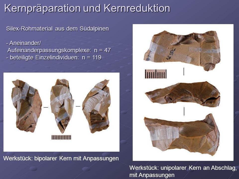 Kernpräparation und Kernreduktion Silex-Rohmaterial aus dem Südalpinen - Aneinander/ Aufeinanderpassungskomplexe: n = 47 Aufeinanderpassungskomplexe: