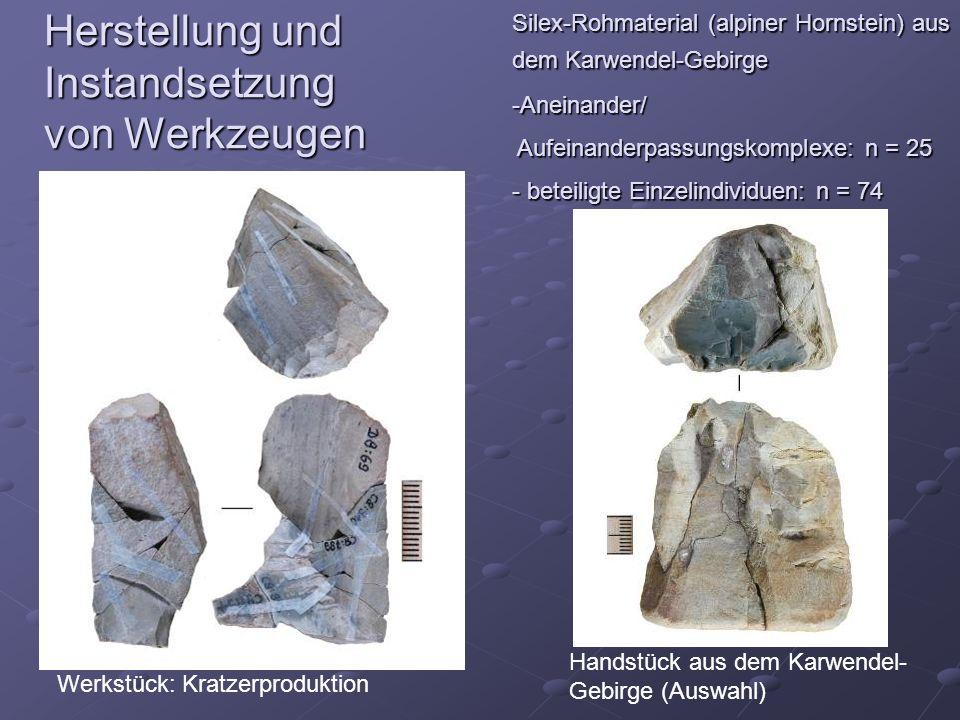 Herstellung und Instandsetzung von Werkzeugen Silex-Rohmaterial (alpiner Hornstein) aus dem Karwendel-Gebirge -Aneinander/ Aufeinanderpassungskomplexe