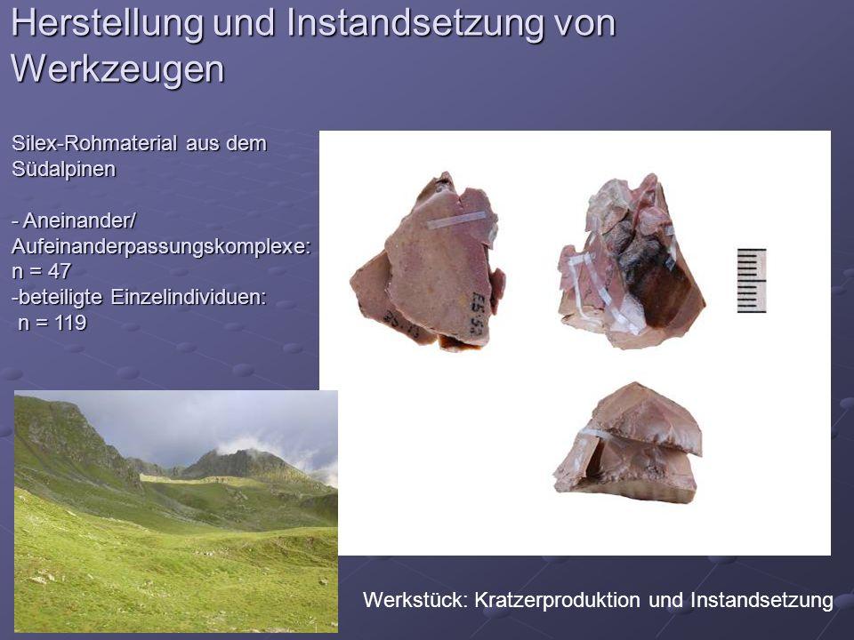 Herstellung und Instandsetzung von Werkzeugen Werkstück: Kratzerproduktion und Instandsetzung Silex-Rohmaterial aus dem Südalpinen - Aneinander/ Aufei