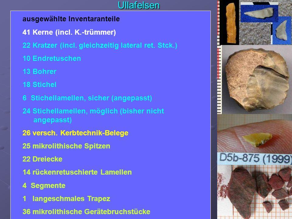Ullafelsen Gerät-Modifikationen – Beuronien- /Sauveterien-Aspekte Geräte-Inventar – mikrolithische/makrolithische Anteile jagdlich (mikrol. Spitzen, D