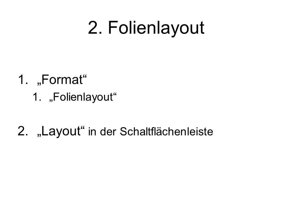 """2. Folienlayout 1.""""Format"""" 1.""""Folienlayout"""" 2.""""Layout"""" in der Schaltflächenleiste"""