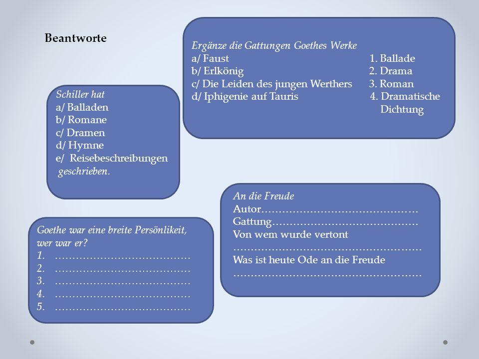 Beantworte Schiller hat a/ Balladen b/ Romane c/ Dramen d/ Hymne e/ Reisebeschreibungen geschrieben.