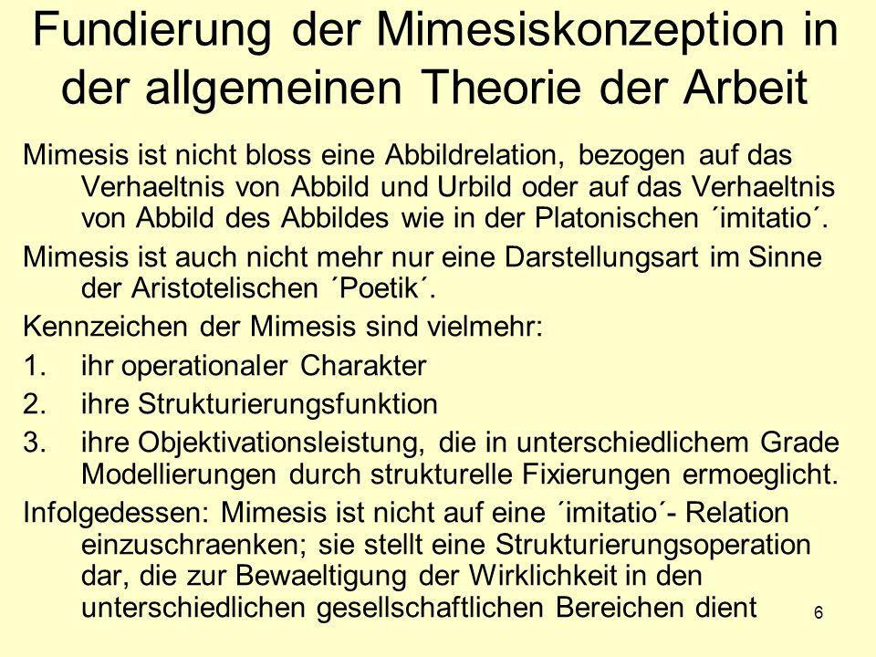 6 Fundierung der Mimesiskonzeption in der allgemeinen Theorie der Arbeit Mimesis ist nicht bloss eine Abbildrelation, bezogen auf das Verhaeltnis von Abbild und Urbild oder auf das Verhaeltnis von Abbild des Abbildes wie in der Platonischen ´imitatio´.