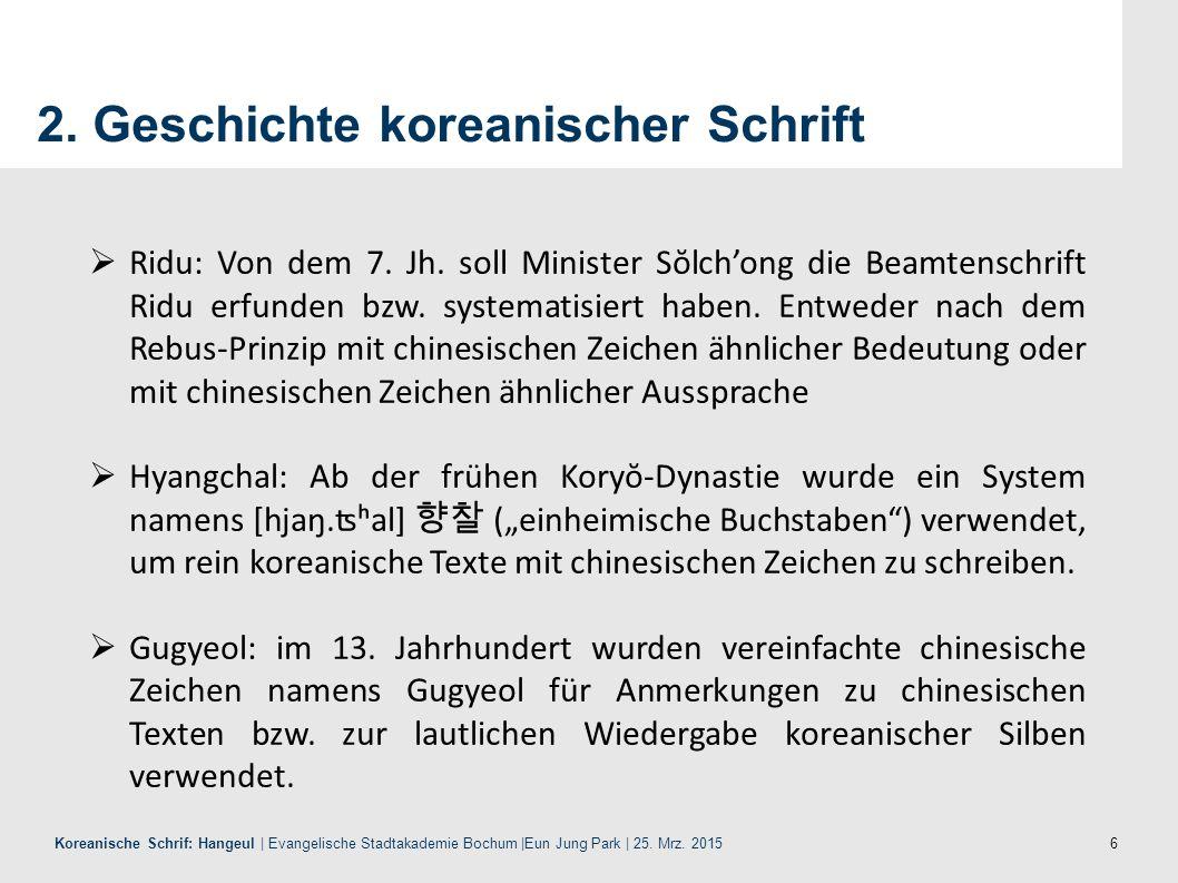 17 Koreanische Schrif: Hangeul | Evangelische Stadtakademie Bochum |Eun Jung Park | 25.