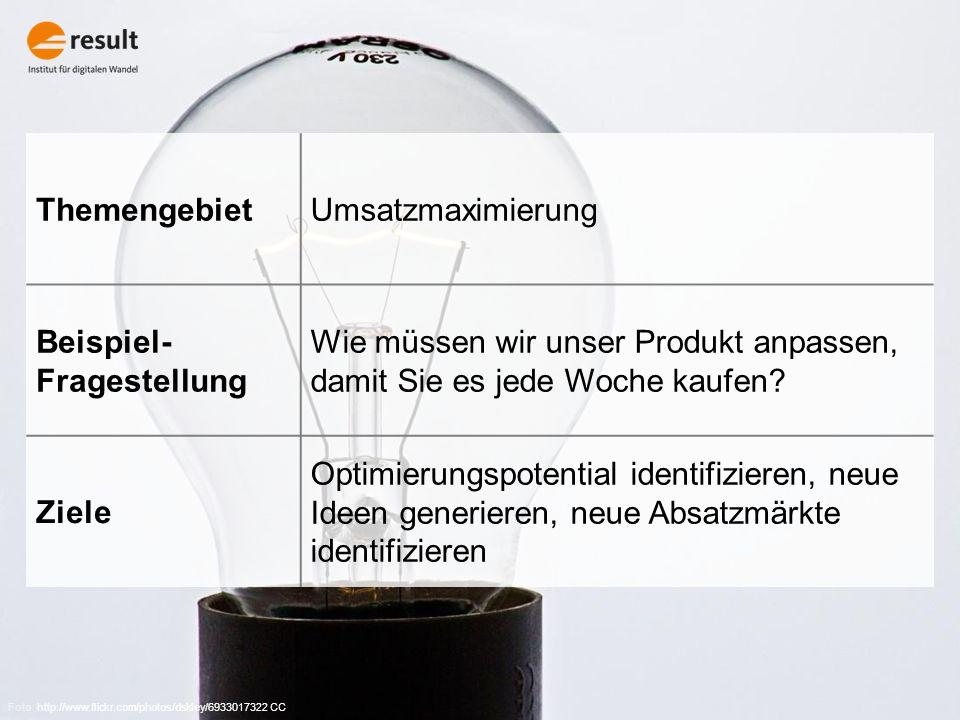 Foto: http://www.flickr.com/photos/dskley/6933017322 CC ThemengebietUmsatzmaximierung Beispiel- Fragestellung Wie müssen wir unser Produkt anpassen, damit Sie es jede Woche kaufen.