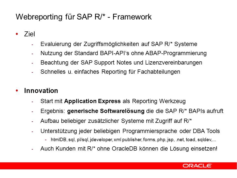 Webreporting für SAP R/* - Framework   Ziel - - Evaluierung der Zugriffsmöglichkeiten auf SAP R/* Systeme - - Nutzung der Standard BAPI-API's ohne ABAP-Programmierung - - Beachtung der SAP Support Notes und Lizenzvereinbarungen - - Schnelles u.