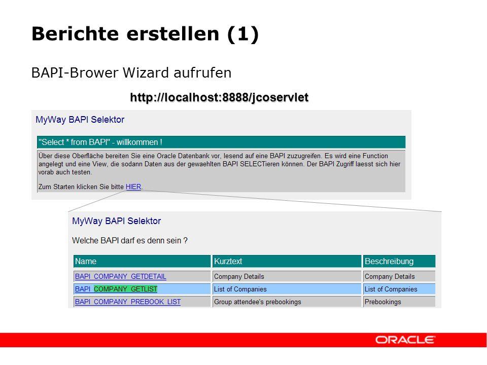 Berichte erstellen (1) BAPI-Brower Wizard aufrufen http://localhost:8888/jcoservlet