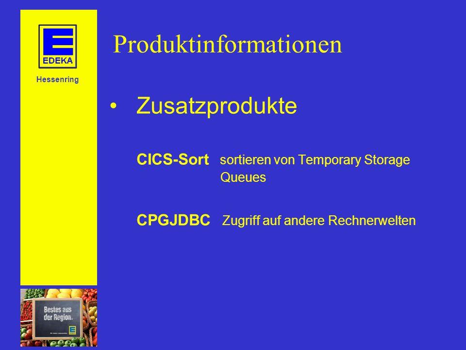 Hessenring Produktinformationen Zusatzprodukte CICS-Sort sortieren von Temporary Storage Queues CPGJDBC Zugriff auf andere Rechnerwelten