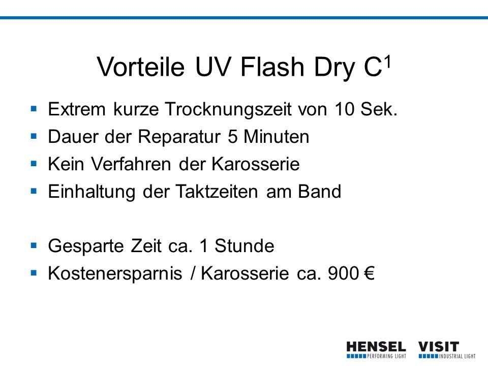 Vorteile UV Flash Dry C 1  Extrem kurze Trocknungszeit von 10 Sek.