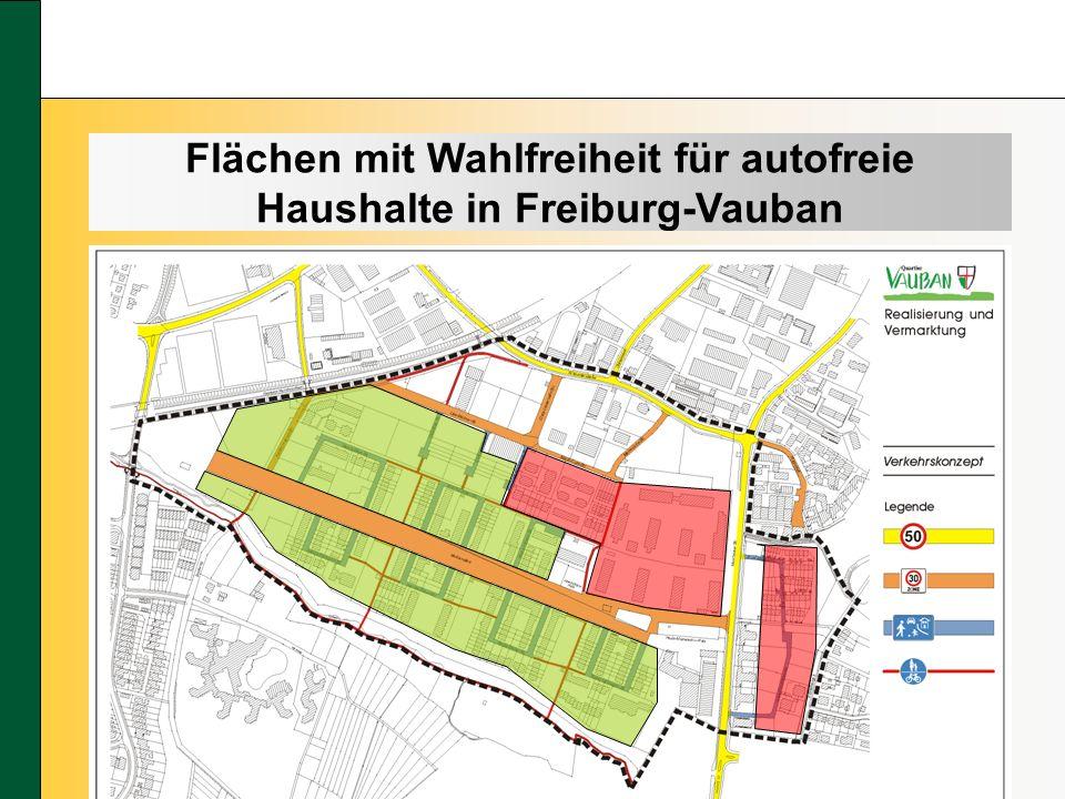 Flächen mit Wahlfreiheit für autofreie Haushalte in Freiburg-Vauban