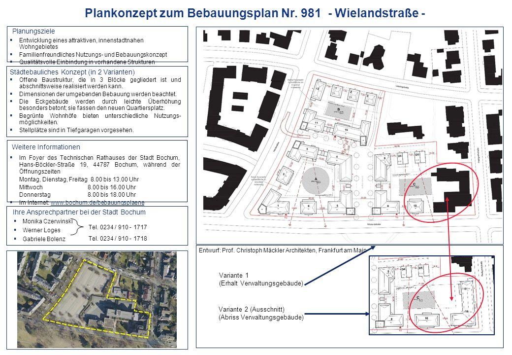 Städtebauliches Konzept (in 2 Varianten) Planungsziele  Monika Czerwinski  Werner Loges  Gabriele Bolenz Tel.