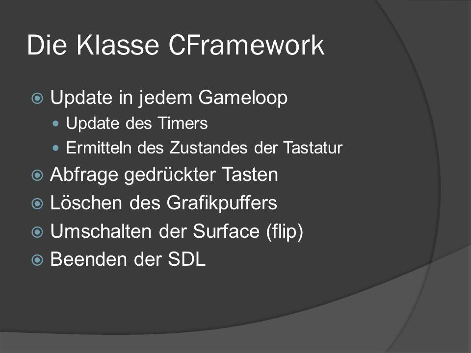 Die Klasse CFramework  Update in jedem Gameloop Update des Timers Ermitteln des Zustandes der Tastatur  Abfrage gedrückter Tasten  Löschen des Grafikpuffers  Umschalten der Surface (flip)  Beenden der SDL