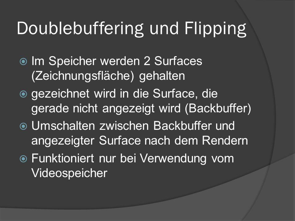 Doublebuffering und Flipping  Im Speicher werden 2 Surfaces (Zeichnungsfläche) gehalten  gezeichnet wird in die Surface, die gerade nicht angezeigt wird (Backbuffer)  Umschalten zwischen Backbuffer und angezeigter Surface nach dem Rendern  Funktioniert nur bei Verwendung vom Videospeicher
