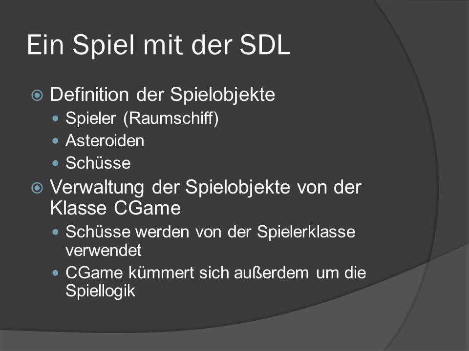 Ein Spiel mit der SDL  Definition der Spielobjekte Spieler (Raumschiff) Asteroiden Schüsse  Verwaltung der Spielobjekte von der Klasse CGame Schüsse werden von der Spielerklasse verwendet CGame kümmert sich außerdem um die Spiellogik