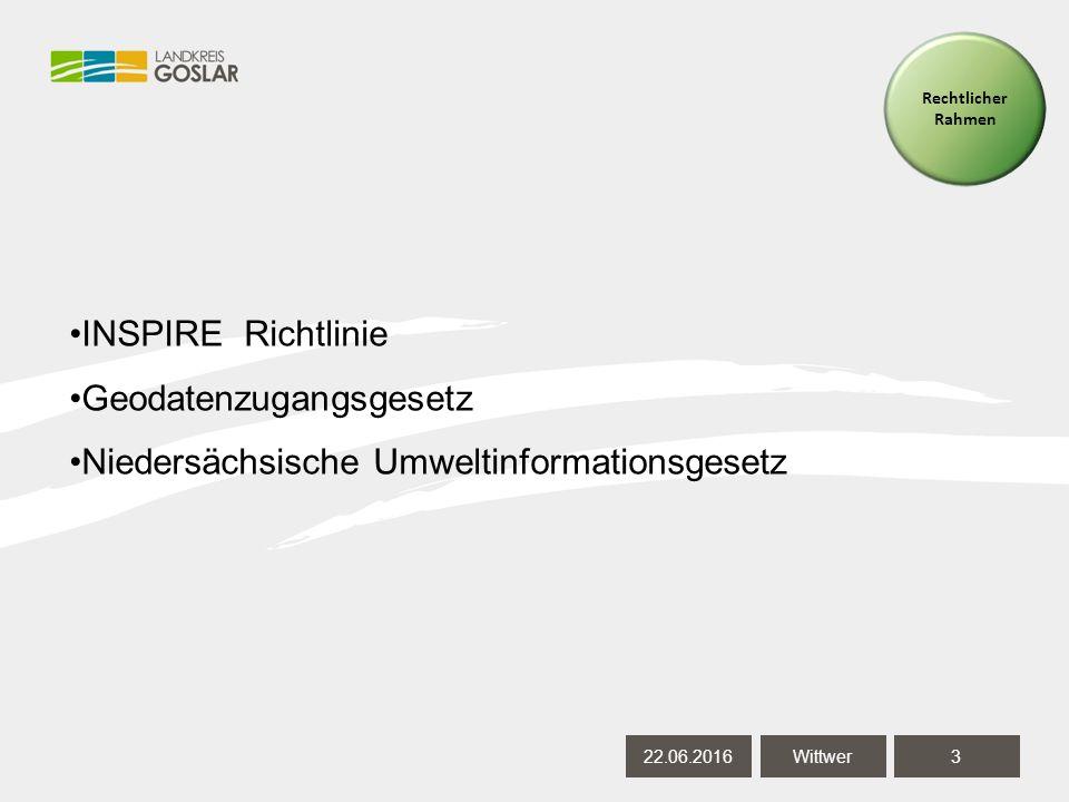 22.06.20163 Wittwer Rechtlicher Rahmen INSPIRE Richtlinie Geodatenzugangsgesetz Niedersächsische Umweltinformationsgesetz