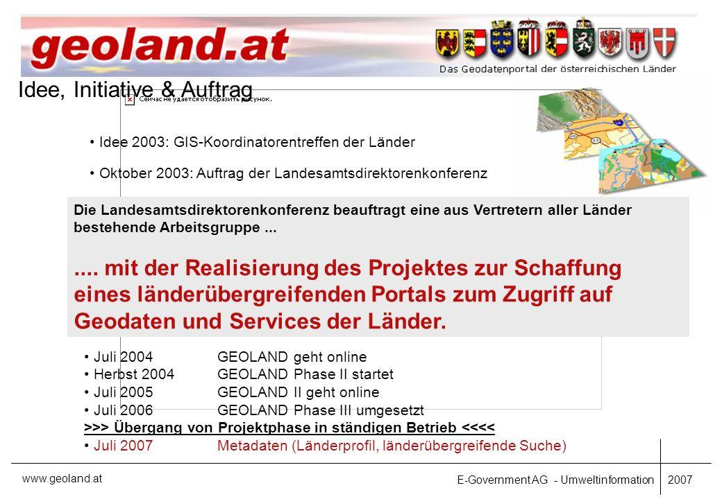 E-Government AG - Umweltinformation 2007 www.geoland.at Danke für die Aufmerksamkeit!