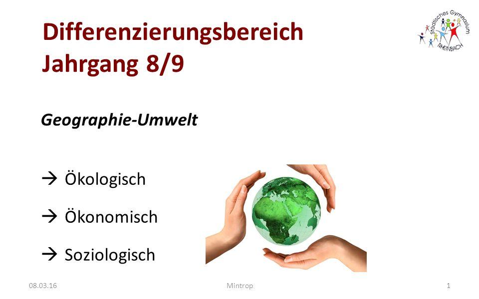 Differenzierungsbereich Jahrgang 8/9 Geographie-Umwelt  Ökologisch  Ökonomisch  Soziologisch 1Mintrop08.03.16