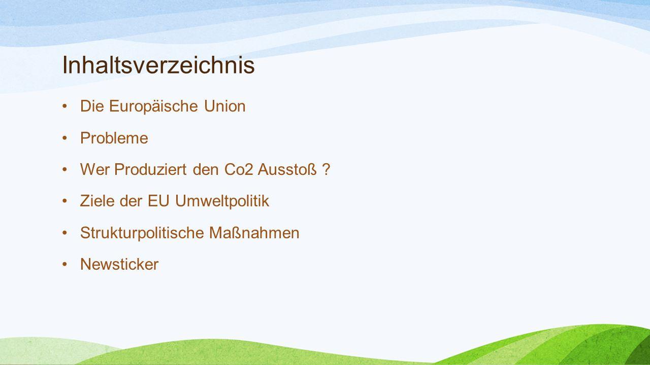 Inhaltsverzeichnis Die Europäische Union Probleme Wer Produziert den Co2 Ausstoß ? Ziele der EU Umweltpolitik Strukturpolitische Maßnahmen Newsticker