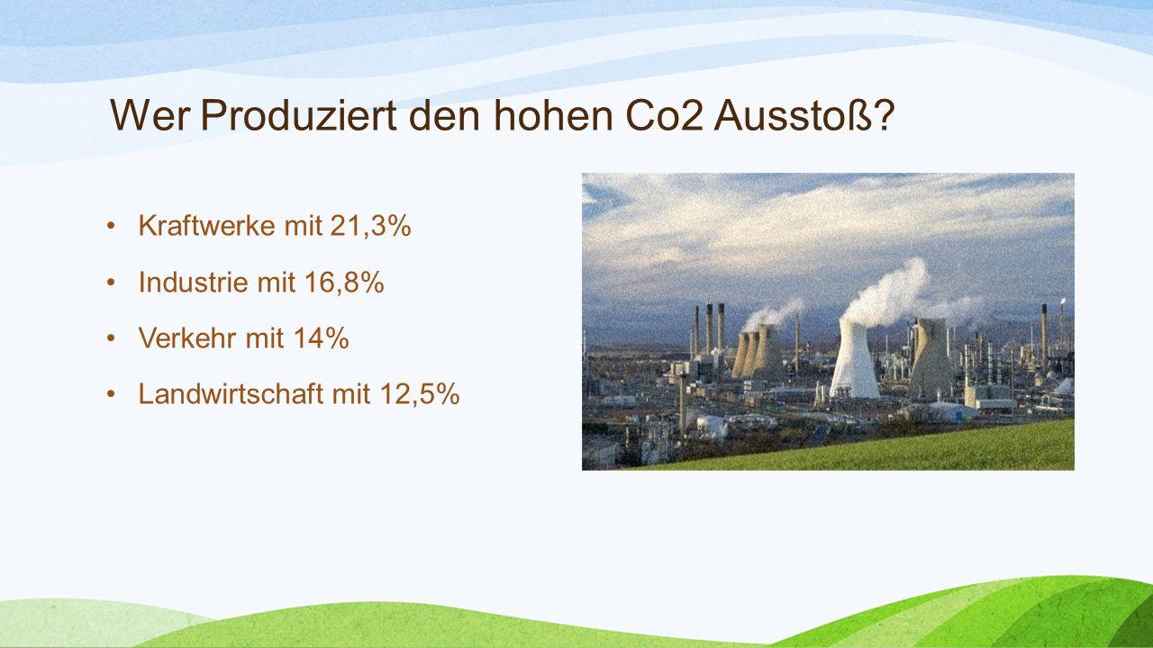 Wer Produziert den hohen Co2 Ausstoß? Kraftwerke mit 21,3% Industrie mit 16,8% Verkehr mit 14% Landwirtschaft mit 12,5%