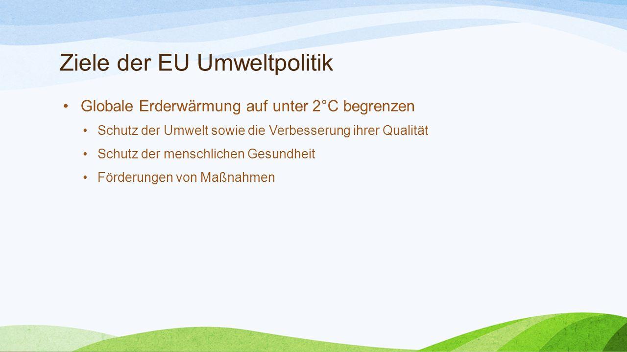 Ziele der EU Umweltpolitik Globale Erderwärmung auf unter 2°C begrenzen Schutz der Umwelt sowie die Verbesserung ihrer Qualität Schutz der menschliche