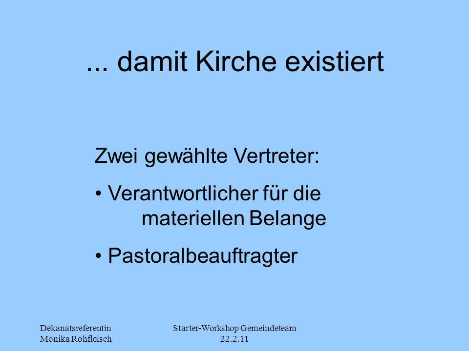 Dekanatsreferentin Monika Rohfleisch Starter-Workshop Gemeindeteam 22.2.11... damit Kirche existiert Zwei gewählte Vertreter: Verantwortlicher für die