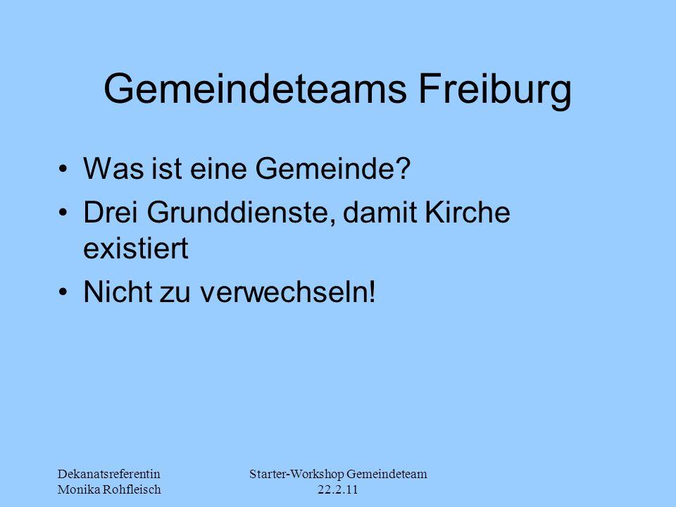 Dekanatsreferentin Monika Rohfleisch Starter-Workshop Gemeindeteam 22.2.11 Gemeindeteams Freiburg Was ist eine Gemeinde? Drei Grunddienste, damit Kirc