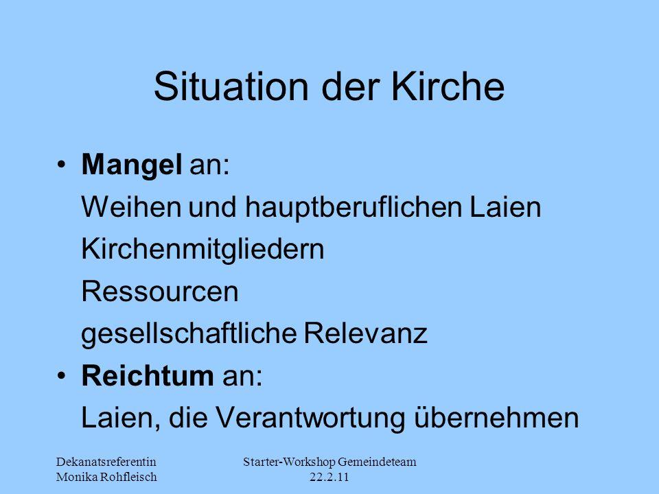Dekanatsreferentin Monika Rohfleisch Starter-Workshop Gemeindeteam 22.2.11 Situation der Kirche Mangel an: Weihen und hauptberuflichen Laien Kirchenmi