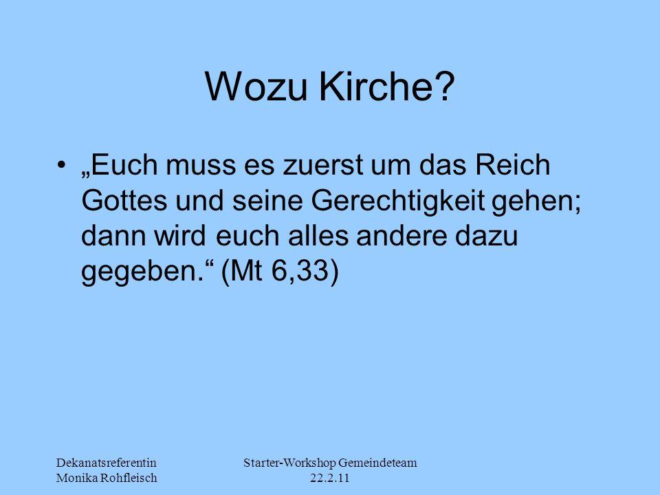"""Dekanatsreferentin Monika Rohfleisch Starter-Workshop Gemeindeteam 22.2.11 Wozu Kirche? """"Euch muss es zuerst um das Reich Gottes und seine Gerechtigke"""