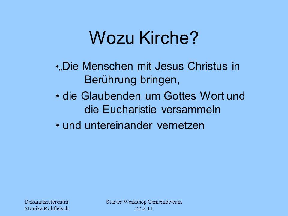 """Dekanatsreferentin Monika Rohfleisch Starter-Workshop Gemeindeteam 22.2.11 Wozu Kirche? """" Die Menschen mit Jesus Christus in Berührung bringen, die Gl"""
