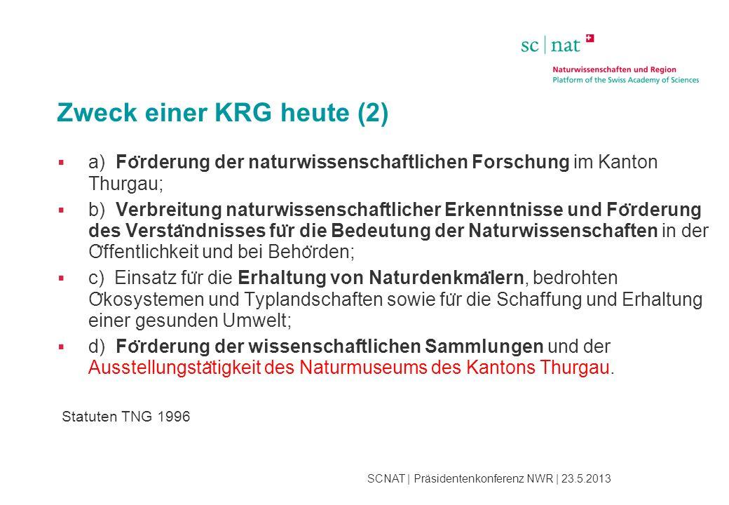 SCNAT | Präsidentenkonferenz NWR | 23.5.2013 Zweck einer KRG heute (2)  a) Fo ̈ rderung der naturwissenschaftlichen Forschung im Kanton Thurgau;  b)