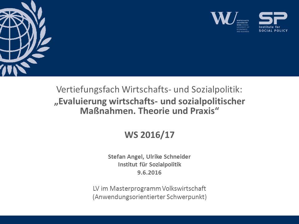 """Vertiefungsfach Wirtschafts- und Sozialpolitik: """"Evaluierung wirtschafts- und sozialpolitischer Maßnahmen."""