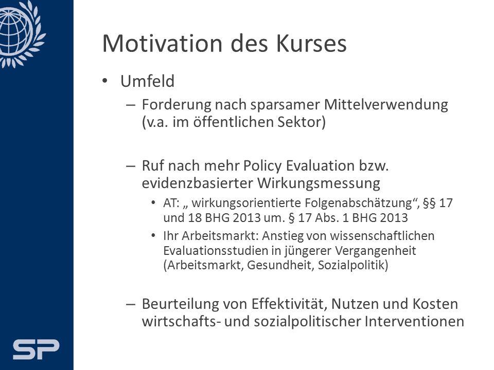 Motivation des Kurses Umfeld – Forderung nach sparsamer Mittelverwendung (öffentlicher Sektor) – Ruf nach mehr Policy Evaluation – Beurteilung von Effektivität, Nutzen und Kosten wirtschafts- und sozialpolitischer Interventionen