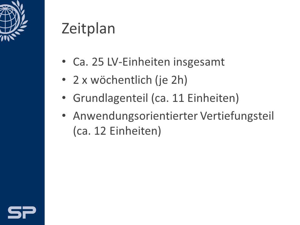 Zeitplan Ca. 25 LV-Einheiten insgesamt 2 x wöchentlich (je 2h) Grundlagenteil (ca.