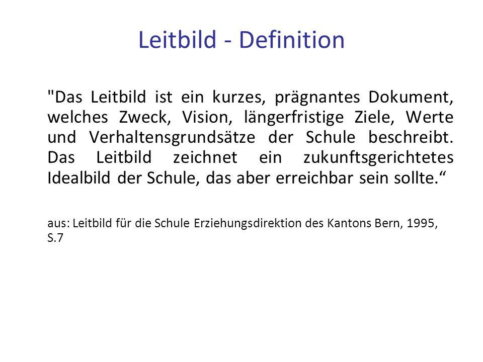 Leitbild - Definition Das Leitbild ist ein kurzes, prägnantes Dokument, welches Zweck, Vision, längerfristige Ziele, Werte und Verhaltensgrundsätze der Schule beschreibt.