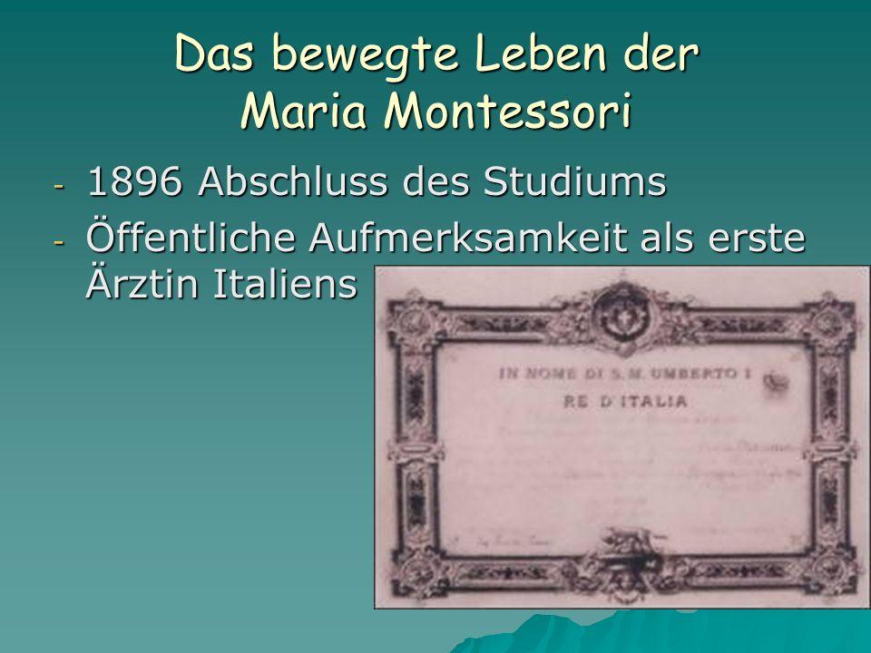Das bewegte Leben der Maria Montessori - 1896 Abschluss des Studiums - Öffentliche Aufmerksamkeit als erste Ärztin Italiens