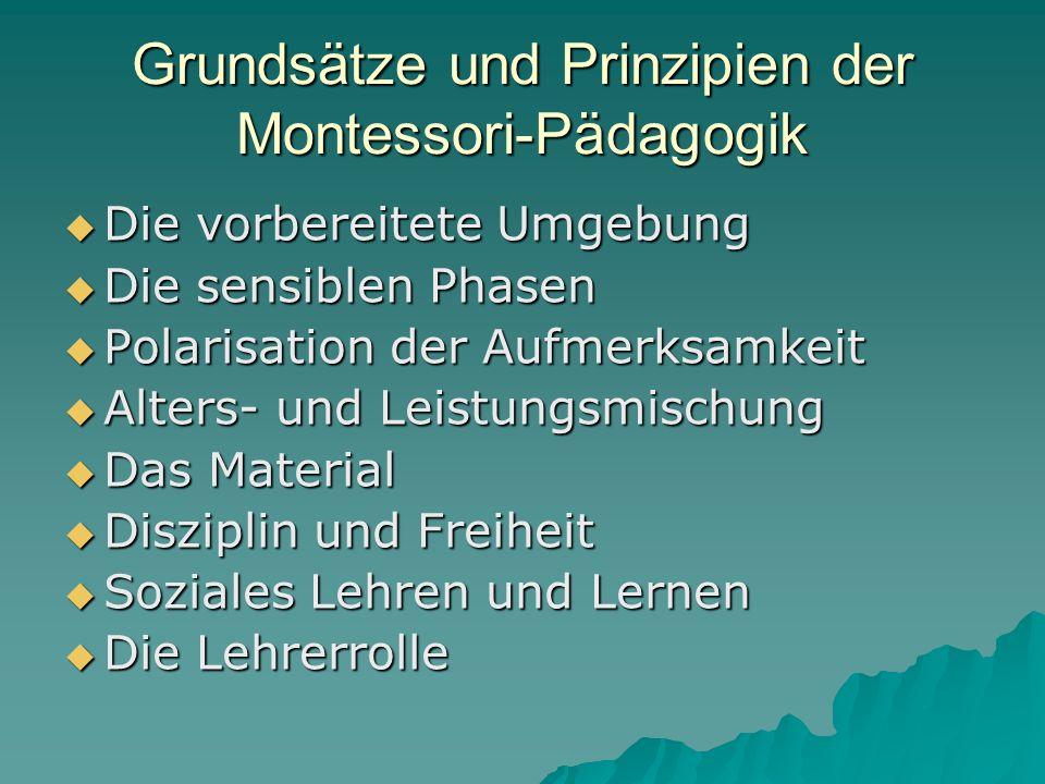 Grundsätze und Prinzipien der Montessori-Pädagogik  Die vorbereitete Umgebung  Die sensiblen Phasen  Polarisation der Aufmerksamkeit  Alters- und Leistungsmischung  Das Material  Disziplin und Freiheit  Soziales Lehren und Lernen  Die Lehrerrolle