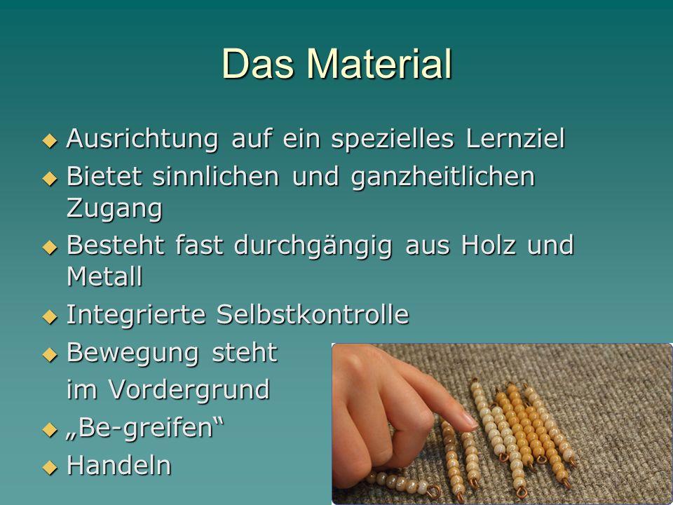 Das Material  Ausrichtung auf ein spezielles Lernziel  Bietet sinnlichen und ganzheitlichen Zugang  Besteht fast durchgängig aus Holz und Metall 