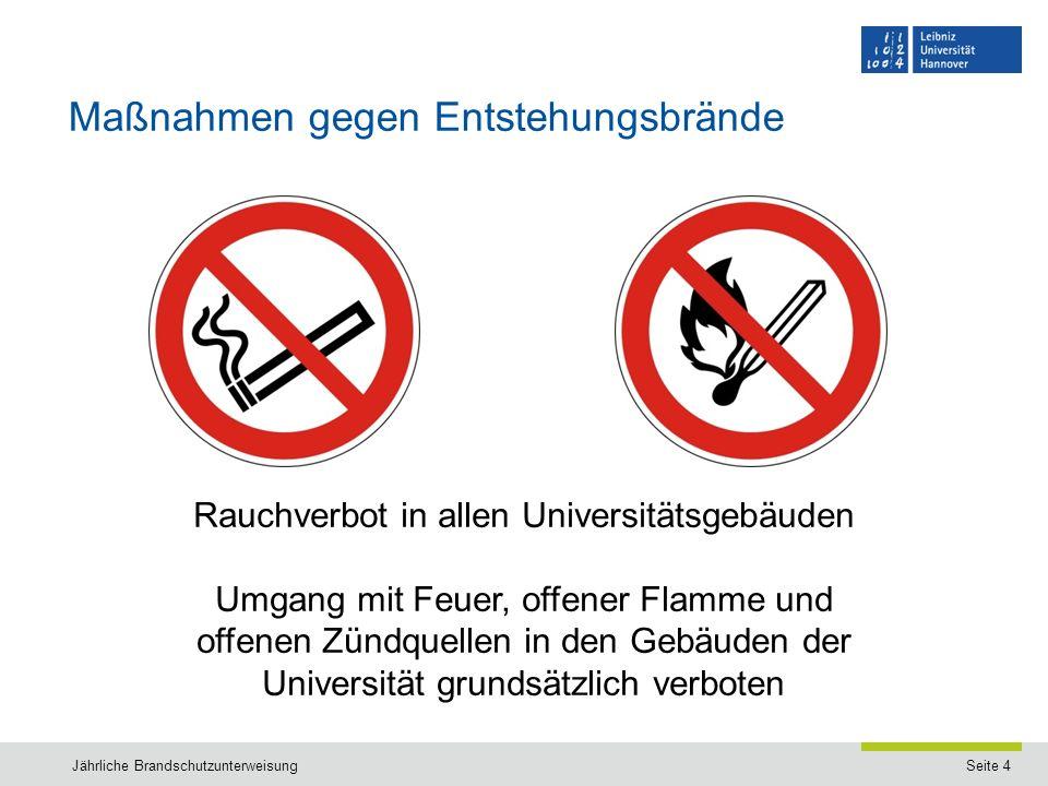 Seite 4 Maßnahmen gegen Entstehungsbrände Jährliche Brandschutzunterweisung Rauchverbot in allen Universitätsgebäuden Umgang mit Feuer, offener Flamme