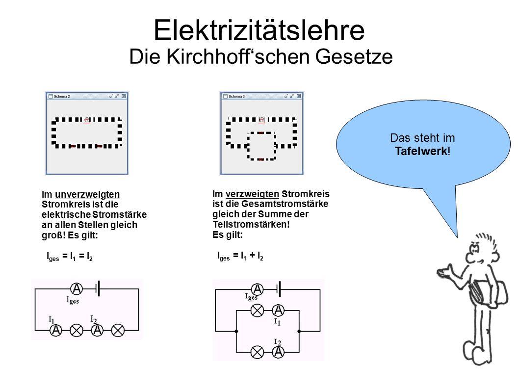 Elektrizitätslehre Die Kirchhoff'schen Gesetze Im unverzweigten Stromkreis ist die elektrische Stromstärke an allen Stellen gleich groß! Es gilt: I ge