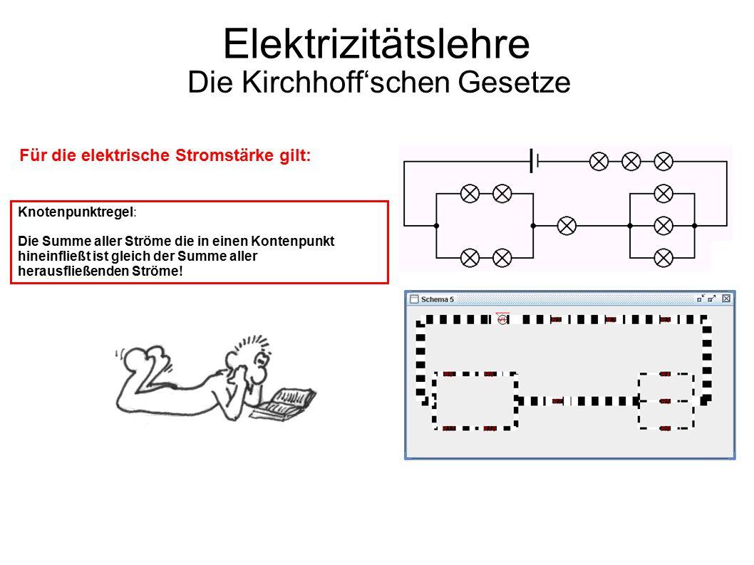 Elektrizitätslehre Die Kirchhoff'schen Gesetze Knotenpunktregel: Die Summe aller Ströme die in einen Kontenpunkt hineinfließt ist gleich der Summe aller herausfließenden Ströme.