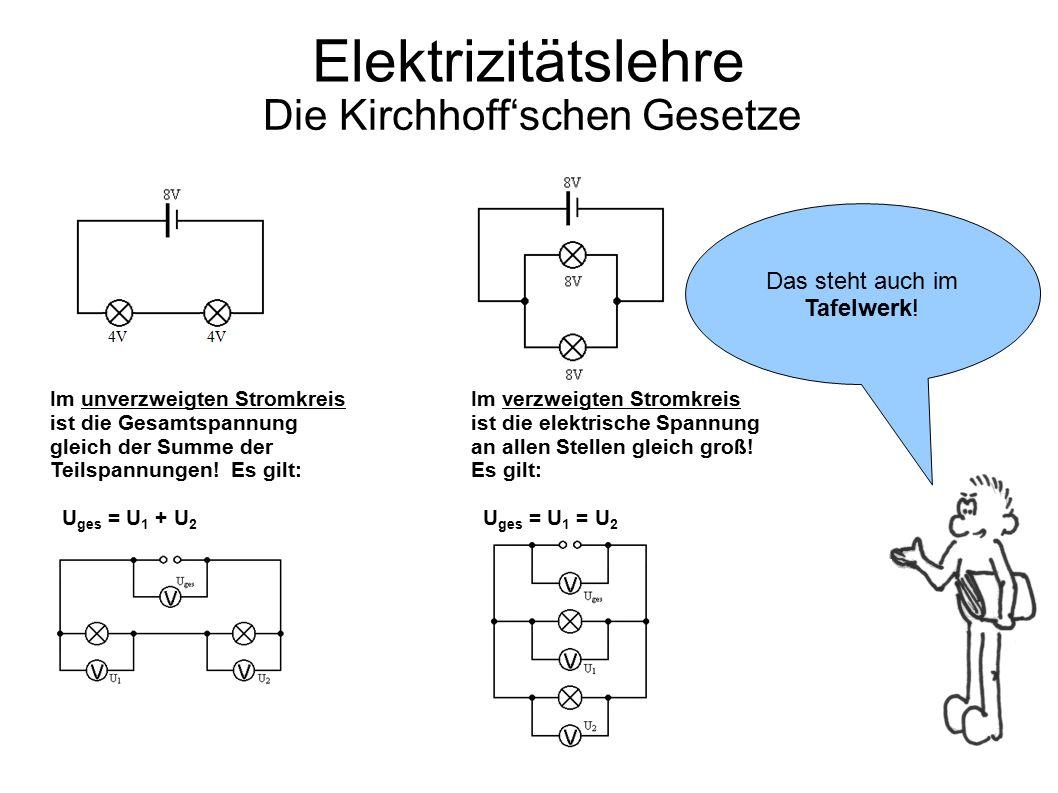 Elektrizitätslehre Die Kirchhoff'schen Gesetze Im unverzweigten Stromkreis ist die Gesamtspannung gleich der Summe der Teilspannungen! Es gilt: U ges