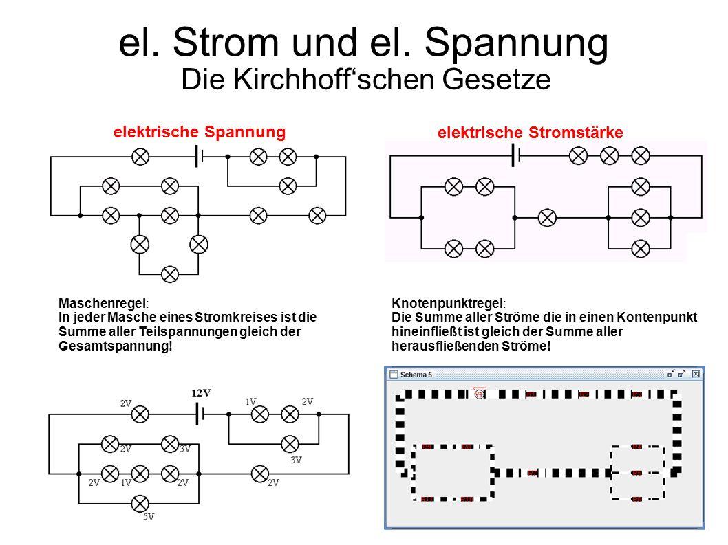 el. Strom und el. Spannung Die Kirchhoff'schen Gesetze elektrische Spannung elektrische Stromstärke Maschenregel: In jeder Masche eines Stromkreises i