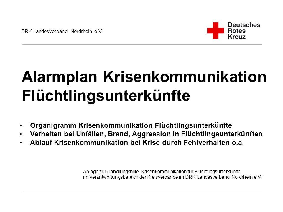Alarmplan Krisenkommunikation Flüchtlingsunterkünfte DRK-Landesverband Nordrhein e.V.