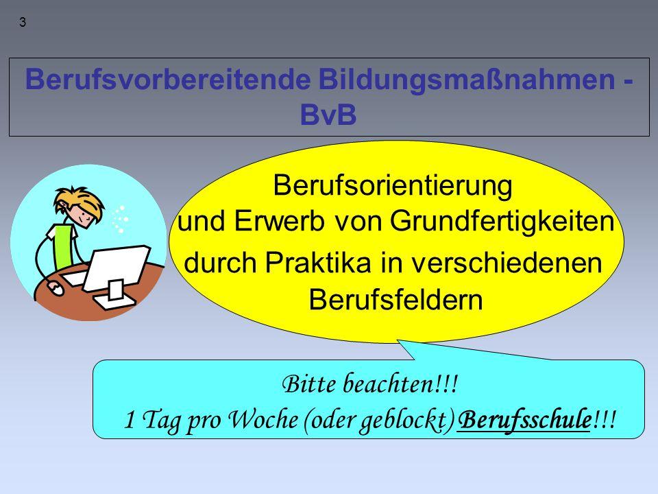 3 Berufsvorbereitende Bildungsmaßnahmen - BvB Berufsorientierung und Erwerb von Grundfertigkeiten durch Praktika in verschiedenen Berufsfeldern Bitte beachten!!.