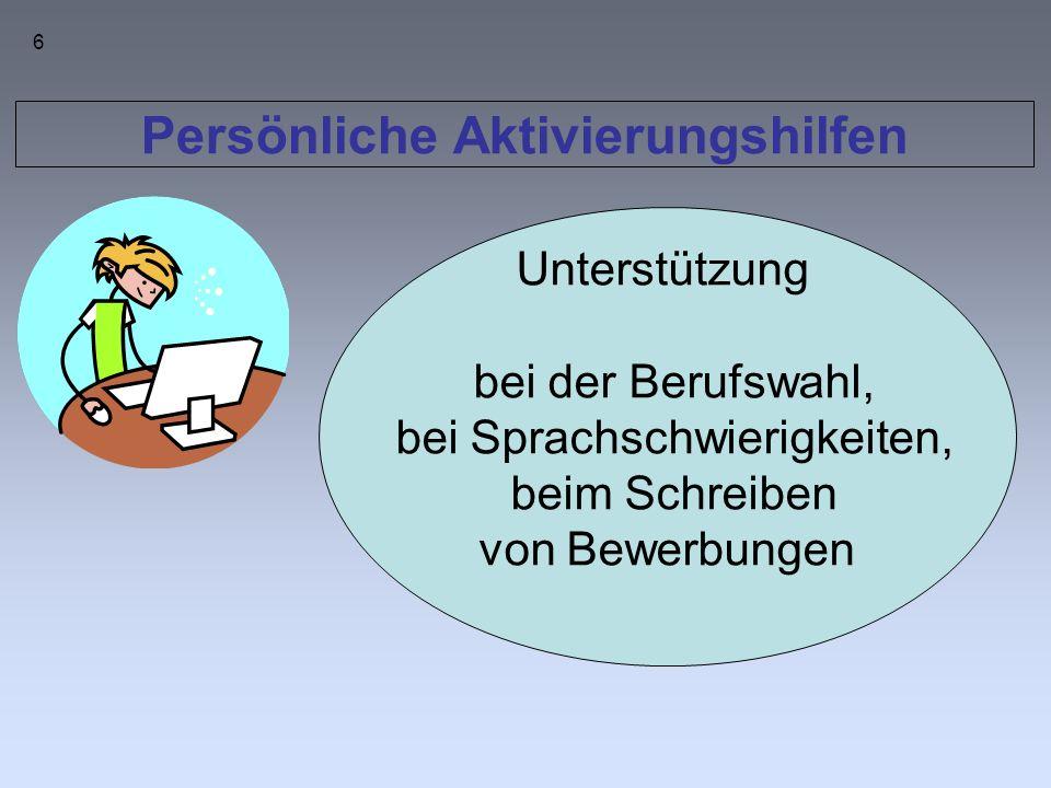 Persönliche Aktivierungshilfen Unterstützung bei der Berufswahl, bei Sprachschwierigkeiten, beim Schreiben von Bewerbungen 6
